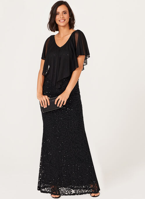 Sequin Lace Gown, Black, hi-res