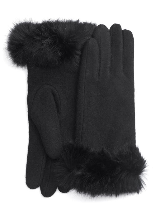 Wool & Fur Cuff Gloves, Black, hi-res