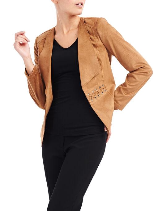 Faux Suede Cord Detail Jacket, Brown, hi-res