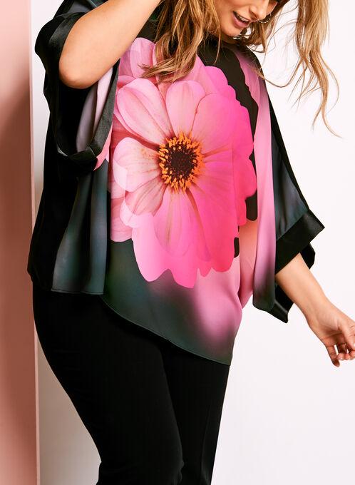 Blouse poncho à fleurs Frank Lyman, Noir, hi-res