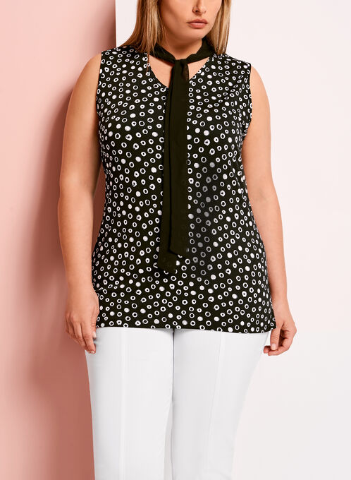 Tie Detail Sleeveless Dot Print Top, Black, hi-res