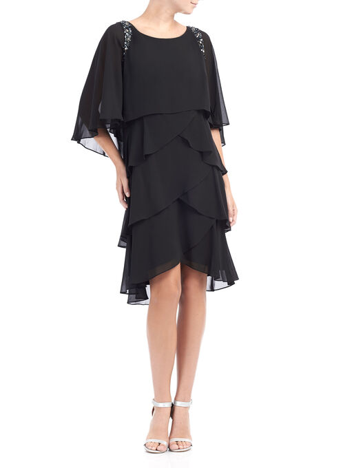 Elbow Sleeve Tiered Cocktail Dress, Black, hi-res