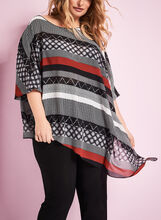 3/4 Sleeve Multi Print Poncho Blouse, Black, hi-res