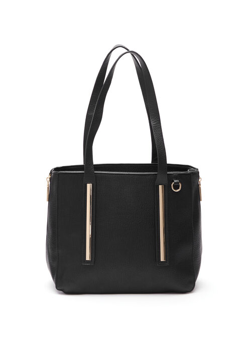 Faux Leather Metal Front Tote Bag, Black, hi-res