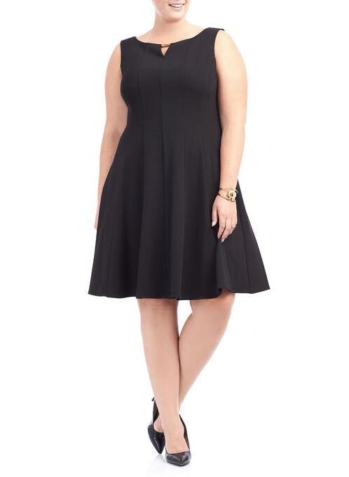 Crêpe Fit & Flare Dress, Black, hi-res