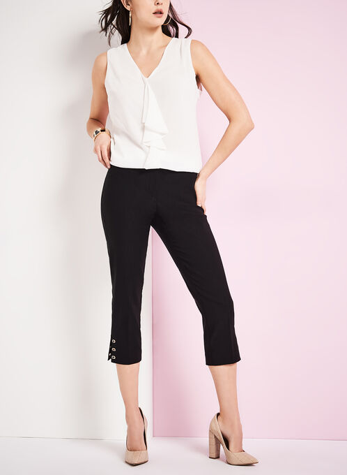 Modern Fit Capri Pants, Black, hi-res