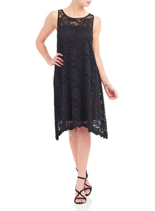 Illusion Neckline Lace Dress, Black, hi-res