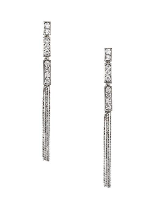 Crystal Chain Tassel Earrings, Silver, hi-res