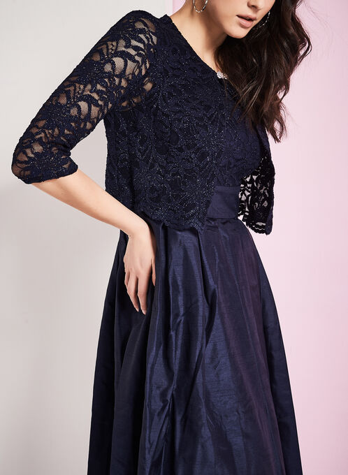 Glitter Lace Dress with Bolero, Blue, hi-res