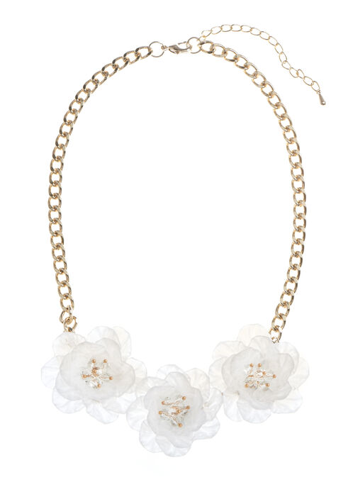 Triple Flower Necklace, White, hi-res