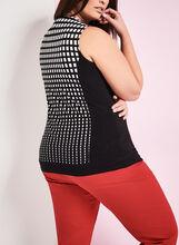 Sleeveless Grid Print Top, Black, hi-res