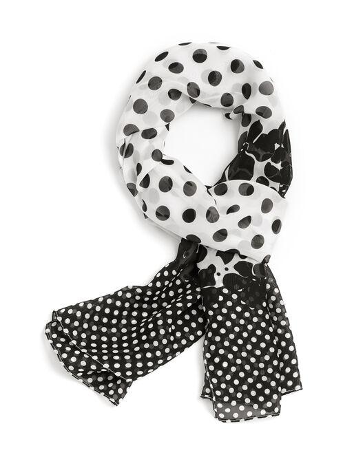 Floral & Dot Print Scarf, Black, hi-res