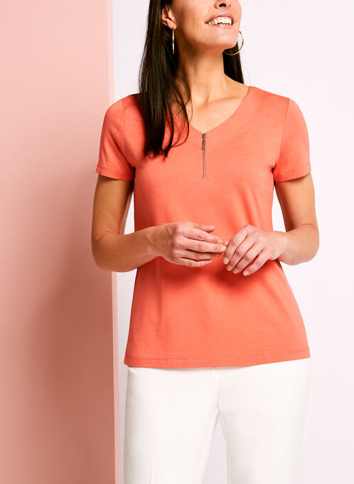 Zip Detail Double V-Neck T-Shirt, Orange, hi-res