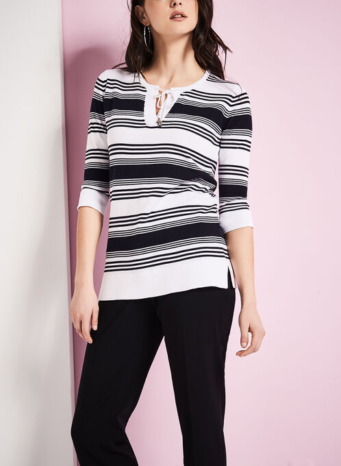 Stripe Print Tunic Sweater, White, hi-res