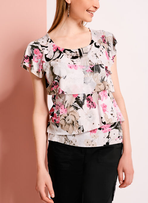 Abstract Floral Print Tiered Blouse, Grey, hi-res