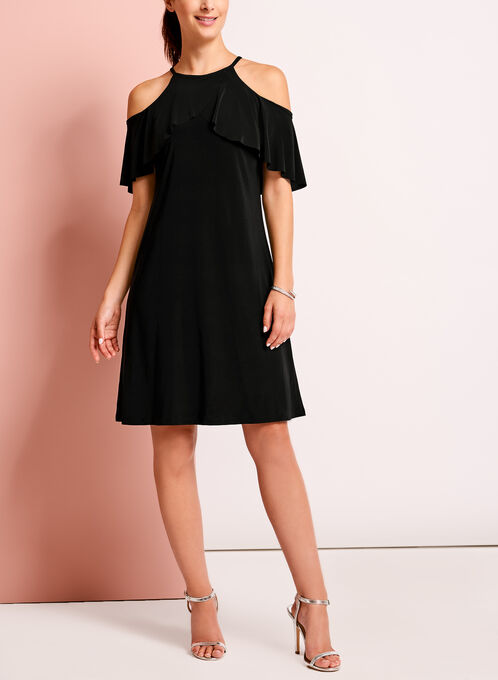Ruffle Trim Cold Shoulder Dress, Black, hi-res