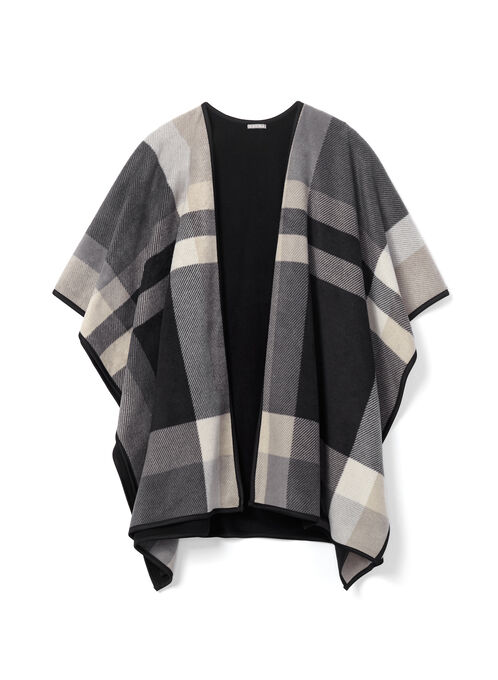 Plaid Print Poncho, Grey, hi-res