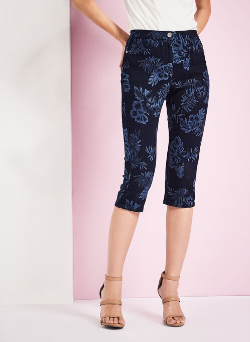 Floral Print Denim Capris, Blue, hi-res