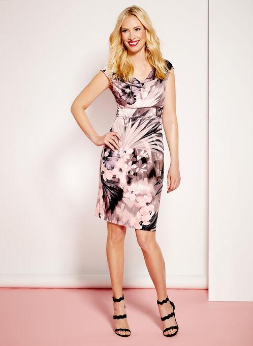 Cowl Neck Floral Print Dress, Purple, hi-res