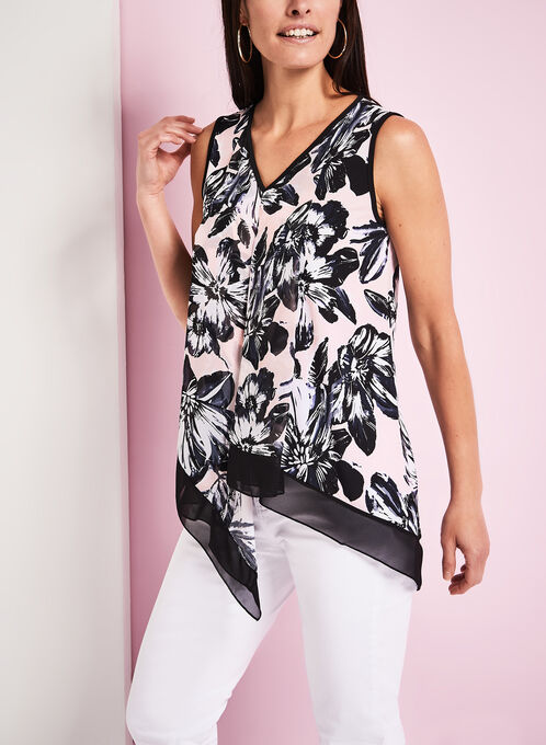 Sleeveless Asymmetric Floral Print Blouse, Red, hi-res