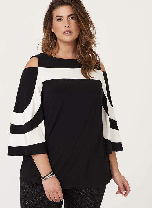 Frank Lyman - Cold Shoulder Jersey Tunic, Black, hi-res