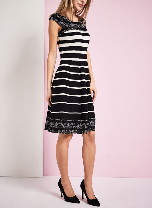 Stripe & Lace Print Cotton Dress, Black, hi-res