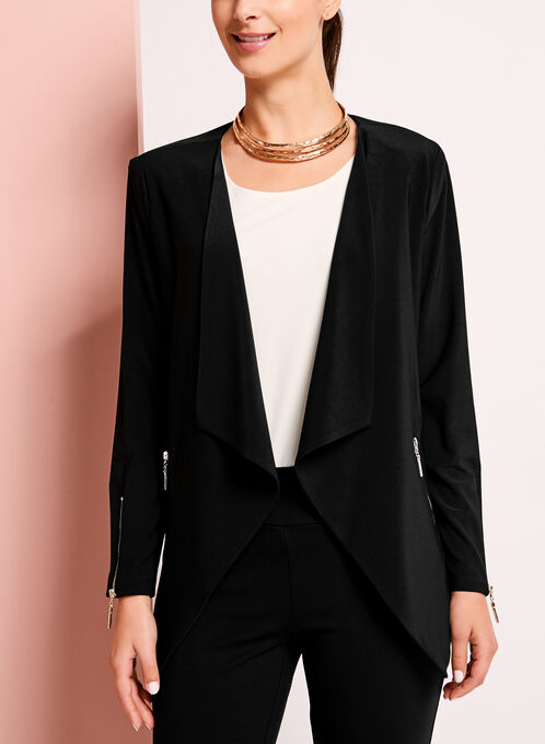 Asymmetric Zipper Trim Blazer, Black, hi-res