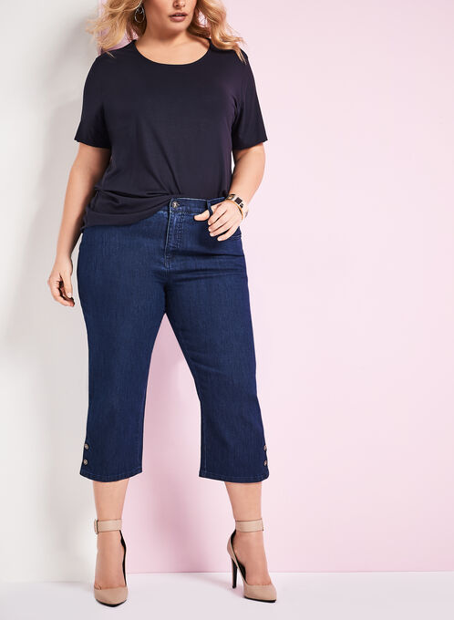 Simon Chang Denim Capri Pants, Blue, hi-res