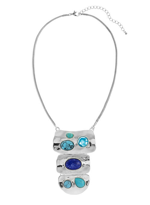 Tiered Stone Faceted Pendant Necklace, Blue, hi-res