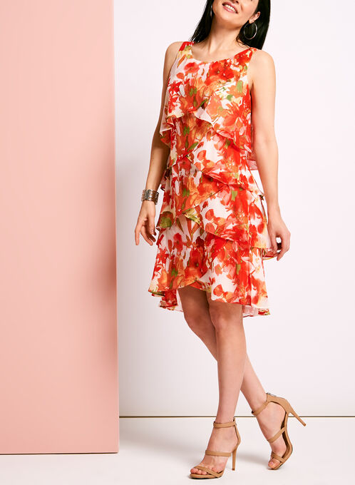 Tiered Floral Print Chiffon Dress, Orange, hi-res