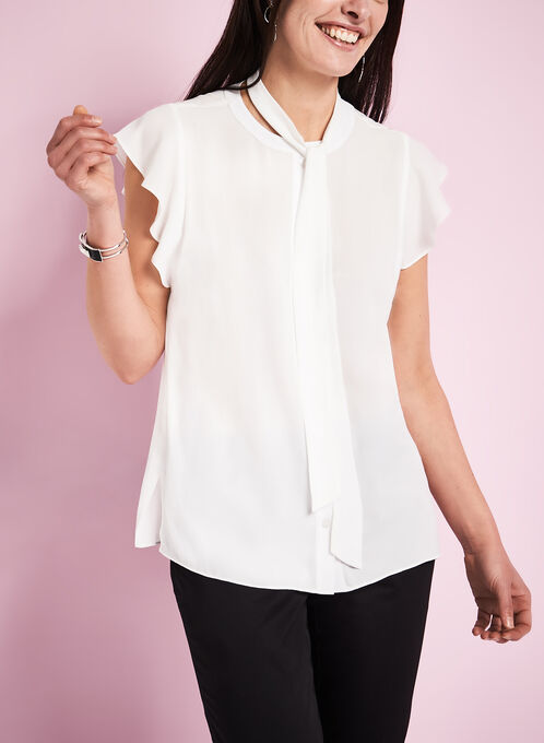 Sleeveless Tie Front Blouse, Off White, hi-res
