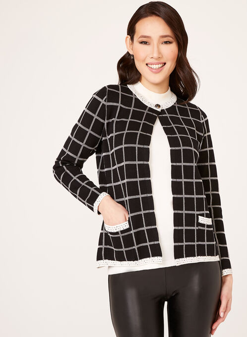Alison Sheri - Check Print Knit Cardigan, Black, hi-res