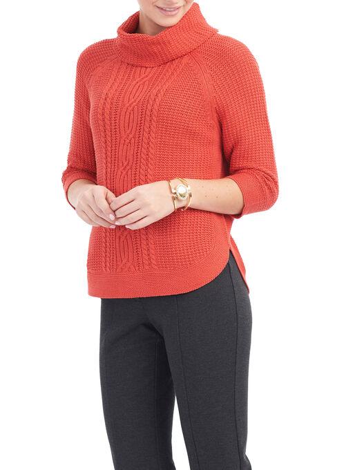 3/4 Sleeve Cowl Neck Sweater, Orange, hi-res