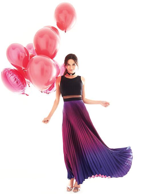 Sheer Waist Pleated Ombré Skirt Gown, Black, hi-res