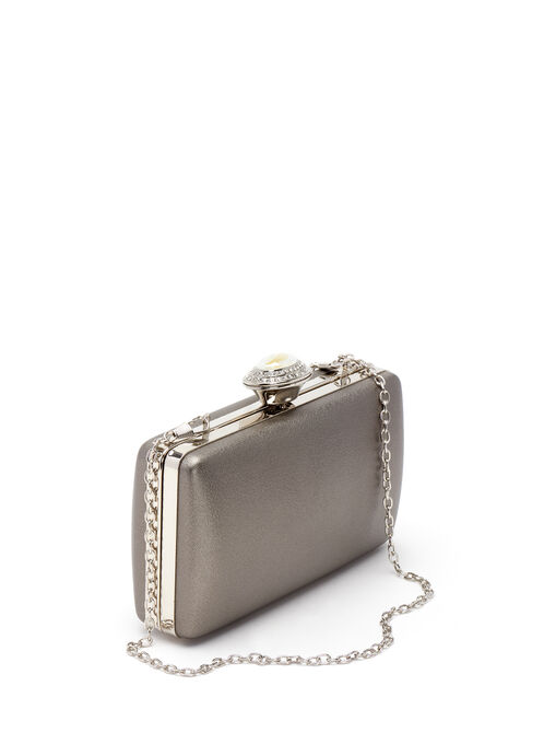 Satin Hard Case Evening Clutch, Blue, hi-res