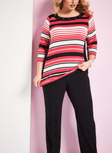 3/4 Sleeve Stripe Print Top , Black, hi-res