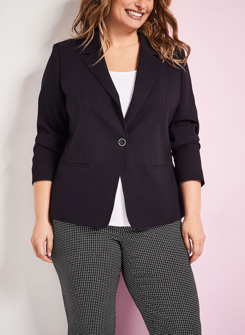 One-Button Pique Ponte Blazer, Blue, hi-res