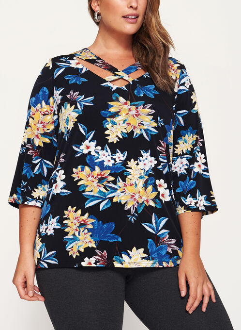 Floral Print 3/4 Bell Sleeve Top, Black, hi-res