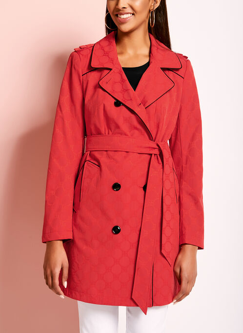 Novelti Jacquard Trench Coat, Red, hi-res