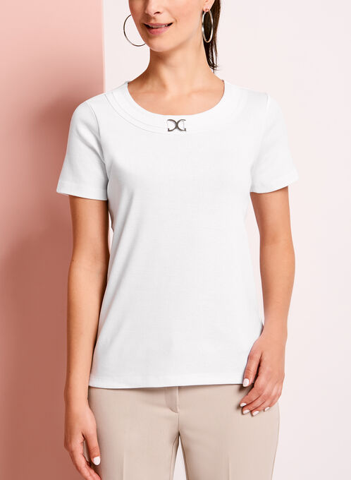 Metallic Ring Trim Scoop Neck T-Shirt, White, hi-res