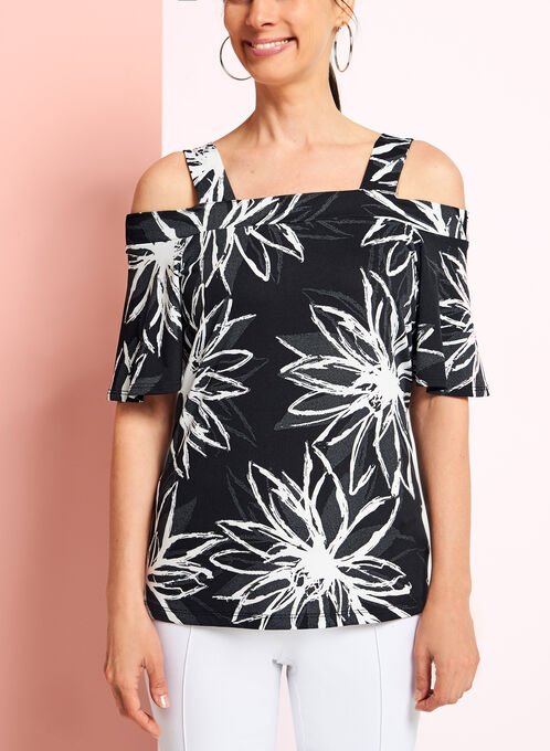 Daisy Print Off The Shoulder Top, Black, hi-res