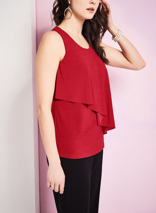 Sleeveless Layered Front Top, Red, hi-res