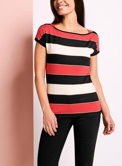 Stripe Print Button Trim T-Shirt, Red, hi-res