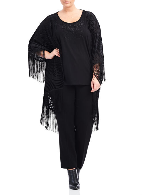 Burnout Velvet Kimono , Black, hi-res