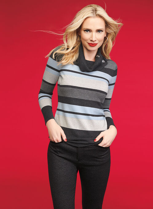 Cowl Neck Striped Sweater, Grey, hi-res