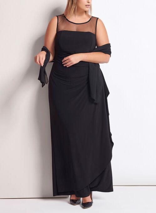 Mesh Yoke Jersey Gown , Black, hi-res