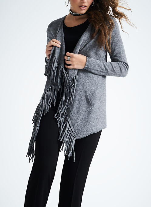 Open Front Fringe Knit Cardigan, Grey, hi-res