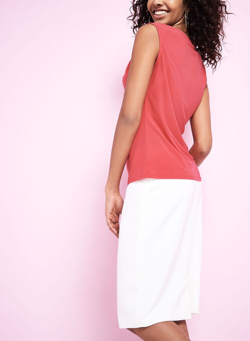 Sleeveless Drape Neck Top, Red, hi-res