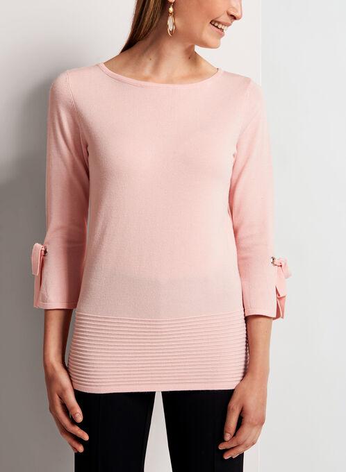Ottoman Hem Bell Sleeve Sweater, Pink, hi-res