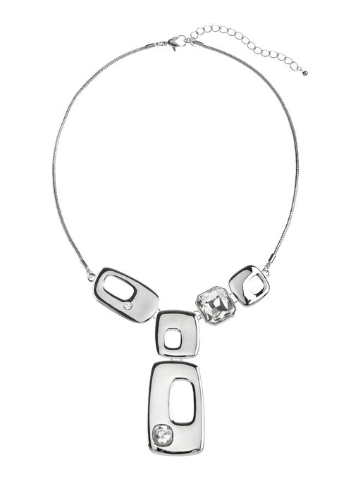 Geometric Y-Necklace, Silver, hi-res